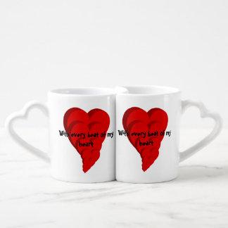 Conjunto De Caneca De Café Com cada batida de meu coração