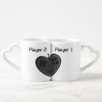 Conjunto De Caneca De Café Coração do Gamer do casal do jogador 1 & 2
