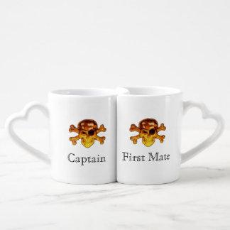 Conjunto De Caneca De Café Crossbones do crânio do pirata do capitão e do
