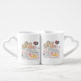 Conjunto De Caneca De Café Eu te amo como você é a rotulação romântica de  