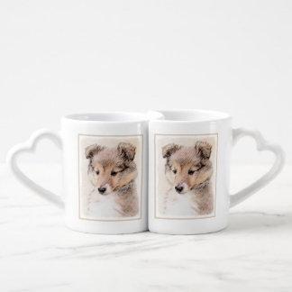 Conjunto De Caneca De Café Filhote de cachorro do Sheepdog de Shetland