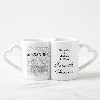 Conjunto De Caneca De Café Noivos Wedding dos Newlyweds de | personalizados
