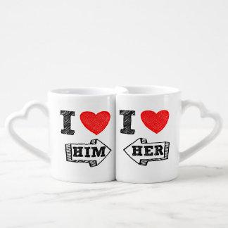 Conjunto De Caneca De Café O copo do amante mim ♥ ELE & ♥ que de I seu