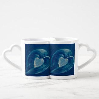 Conjunto De Caneca De Café O coração das ondas fundiu o abstrato