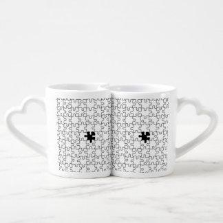 Conjunto De Caneca De Café O teste padrão faltante da parte do quebra-cabeça