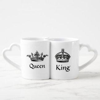 Conjunto De Caneca De Café O vintage coroa a rainha/canecas do rei AMOR