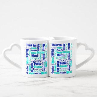 Conjunto De Caneca De Café Obrigado do azul e da turquesa você exprime a