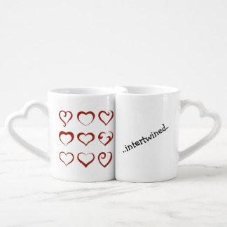 Conjunto De Caneca De Café Os corações originais projetam entrelaçado para
