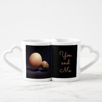 """Conjunto De Caneca De Café Ovos da galinha e de codorniz no amor. Texto """"você"""