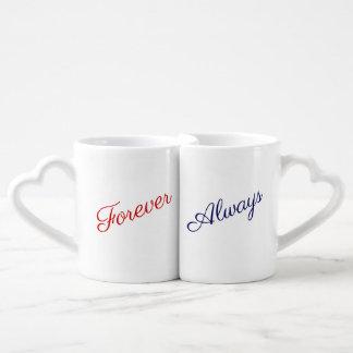 """Conjunto De Caneca De Café """"Para sempre em seus braços - guardare-a sempre"""""""