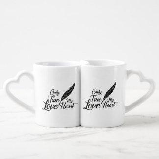 Conjunto De Caneca De Café Pena verdadeira do amor da ilustração