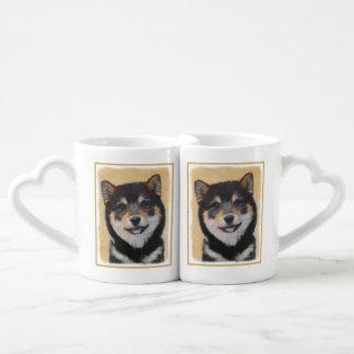 Conjunto De Caneca De Café Pintura de Shiba Inu (preto e Tan) - arte do cão