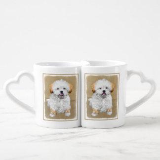 Conjunto De Caneca De Café Pintura do filhote de cachorro de Lhasa Apso -