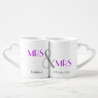 Conjunto De Caneca De Café Presente da Sra. & de casamento da Sra. Lésbica