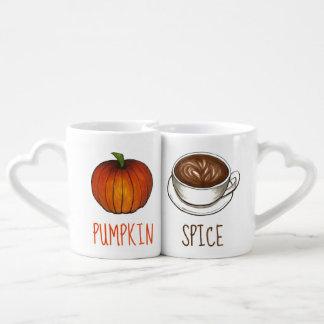 Conjunto De Caneca De Café Queda do outono de Latte do café da estação da