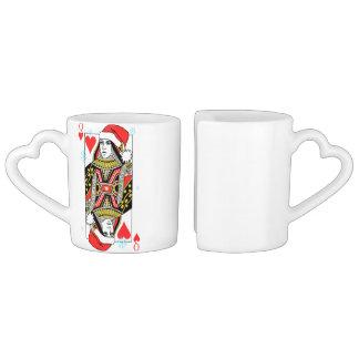 Conjunto De Caneca De Café Rainha do Feliz Natal dos corações