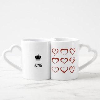 Conjunto De Caneca De Café Rei e rainha no amor, em corações originais e em