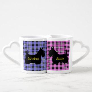 Conjunto De Caneca De Café Scottish Terrier, coração da xadrez/amor