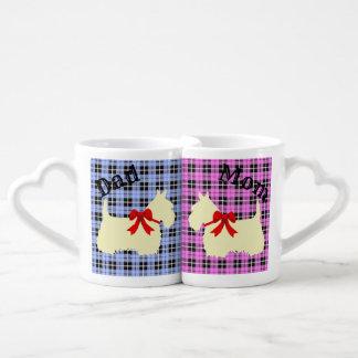 Conjunto De Caneca De Café Scottish Terrier, xadrez cor-de-rosa/azul, mamã &