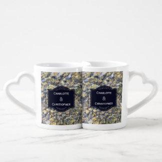 Conjunto De Caneca De Café Seixos do rio e casamento personalizado água