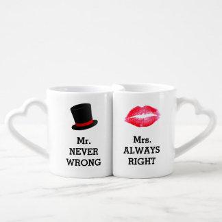 Conjunto De Caneca De Café Sr. Nunca Errado, Sra. Sempre Direito Engraçado