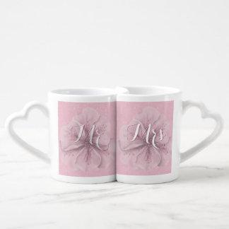 Conjunto De Caneca De Café Sr. Sra. Cor-de-rosa Floral