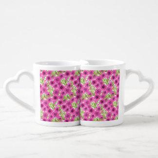 Conjunto De Caneca De Café Teste padrão de flor cor-de-rosa do petúnia da