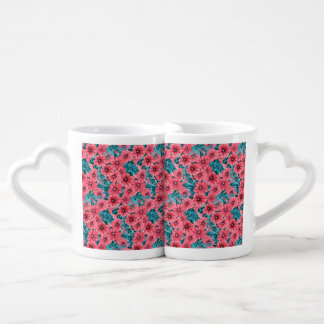 Conjunto De Caneca De Café Teste padrão de flor vermelho do petúnia da