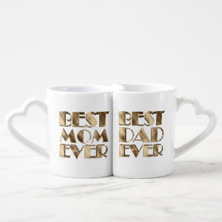 Conjunto De Caneca De Café Texto do olhar do ouro do pai da mamã dos pais o