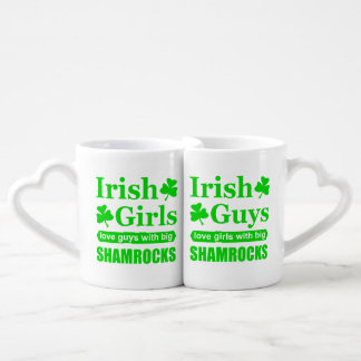 Conjunto De Caneca De Café Trevos grandes irlandeses do amor das caras e das