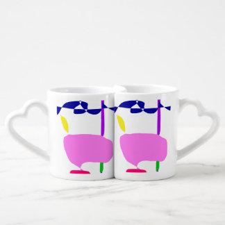 Conjunto De Caneca De Café Uma fruta cor-de-rosa