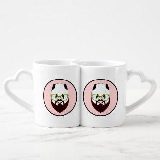 Conjunto De Caneca De Café Urso de panda com uma barba