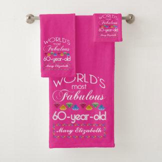 Conjunto De Toalhas 60th Aniversário a maioria de rosa colorido