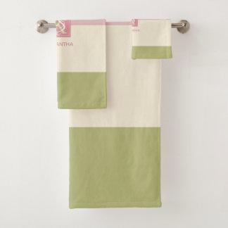 Conjunto De Toalhas A paleta de cores do verde do rosa do creme listra