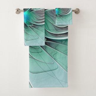 Conjunto De Toalhas Abstrato com arte azul, moderna do Fractal