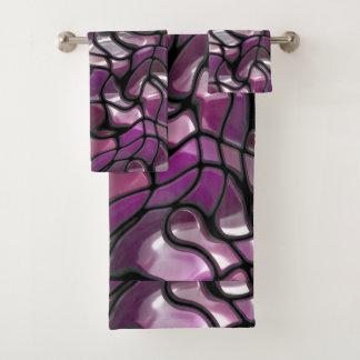 Conjunto De Toalhas Abstrato das ondas do roxo