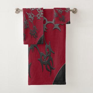 Conjunto De Toalhas Abstrato étnico do tijolo preto vermelho de prata