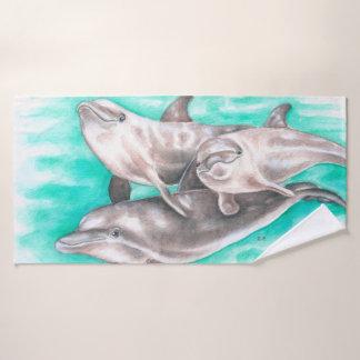 Conjunto De Toalhas Aguarela da cerceta do vagem dos golfinhos