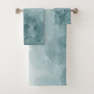 Conjunto De Toalhas Aguarela tropical do azul da cerceta