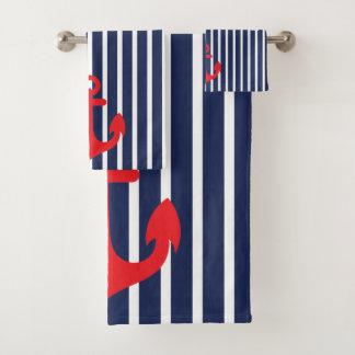 Conjunto De Toalhas Âncora náutica do vermelho das listras de azuis