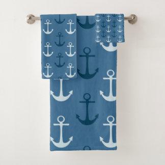 Conjunto De Toalhas Âncoras azuis náuticas do navio