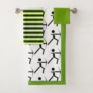 Conjunto De Toalhas Arqueiro com suas listras pretas & verdes do arco