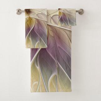 Conjunto De Toalhas Arte floral do Fractal do abstrato da beringela do