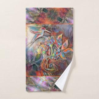 Conjunto De Toalhas Arte macia dos Pastels do vôo do colibri