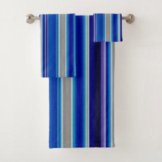 Conjunto De Toalhas Azul, bege e listras da lavanda