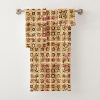 Conjunto De Toalhas Batik tribal - castanho chocolate e tan do camelo