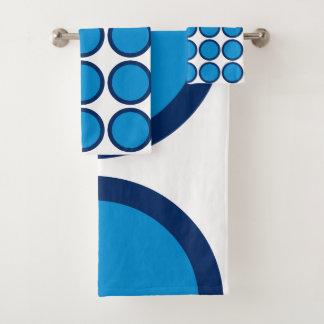 Conjunto De Toalhas Bolinhas do azul e do marinho do verão no branco