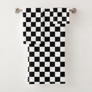 Conjunto De Toalhas Branco de competência Checkered clássico do preto