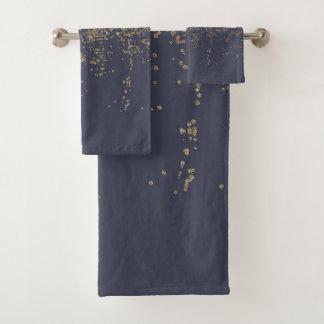 Conjunto De Toalhas Brilho Sparkly Ombre do ouro dos azuis marinhos