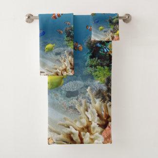 Conjunto De Toalhas Cena subaquática do oceano tropical dos peixes